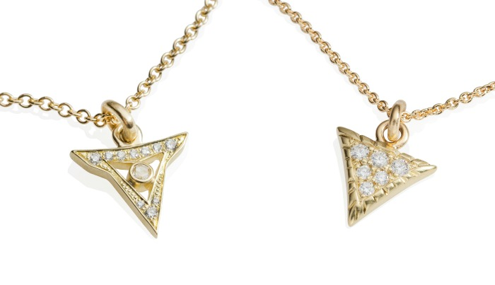 Gold and diamond necklaces from Lisa Kim's new jewelry collection, The Seabeast. Their shapes are inspired by the teeth and scales of seamonsters. Subtle and bold at the same time, with a hint of danger.