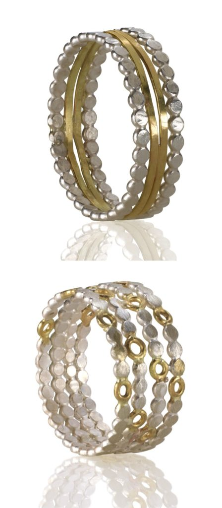 Two handmade mixed metal rings by Sophie Ratner jewelry.