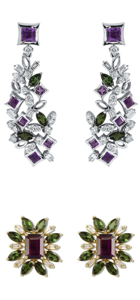 Two stunning pairs of diamond and gemstone earrings by Ayva jewelry