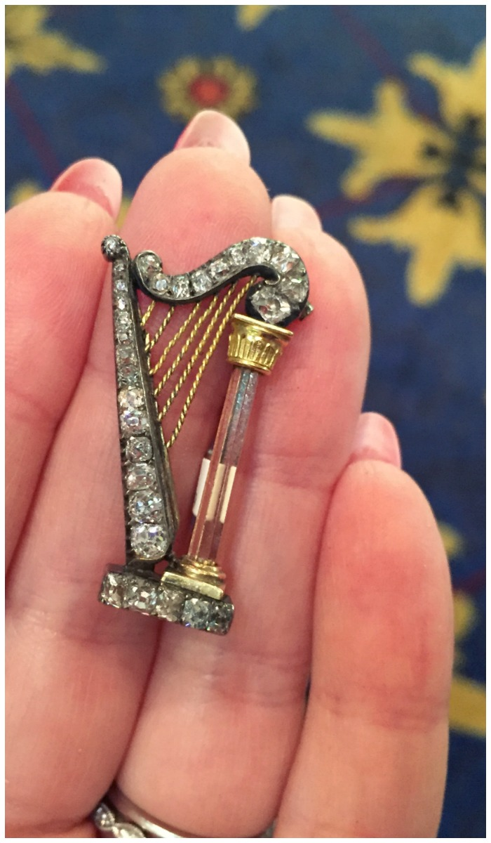 A beautiful antique Victorian harp brooch. In silver and gold, with diamonds and topaz. At Humphrey Butler.