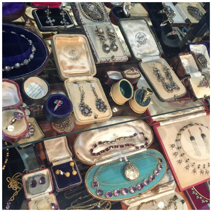A case full of stunning pieces at Lowther Antiques' Las Vegas Antique Jewelry and Watch Show booth.