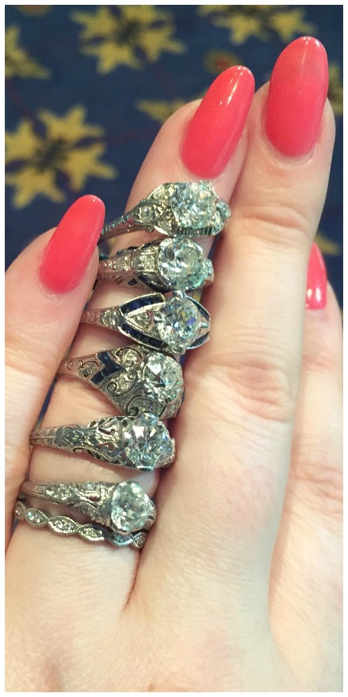 A glorious stack of Art Deco engagement rings. At Craig Evan Small.