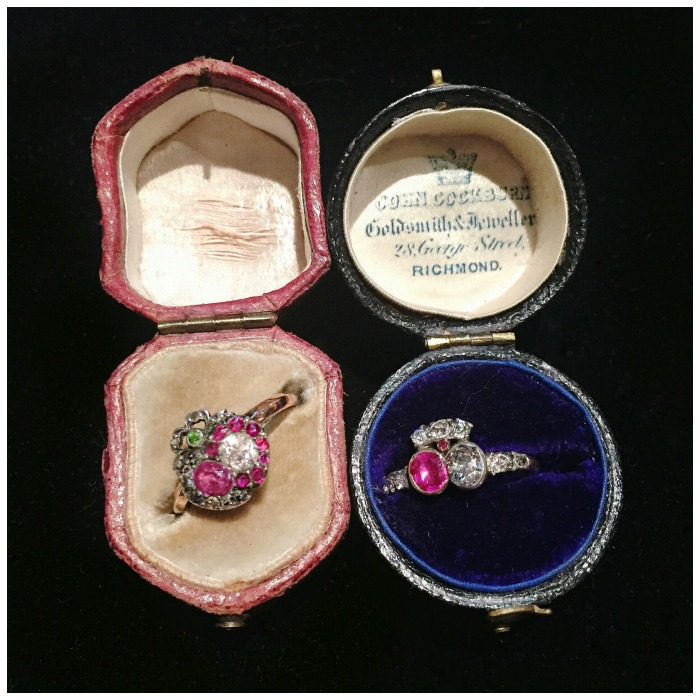 A pair of antique ruby and diamond crowned heart rings from the early 1800's. At Lowther Antiques.