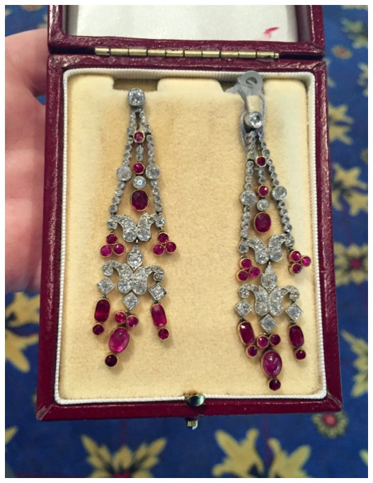 An exceptional pair of diamond and Burma ruby earrings from the Edwardian era. At M. Khordipour.