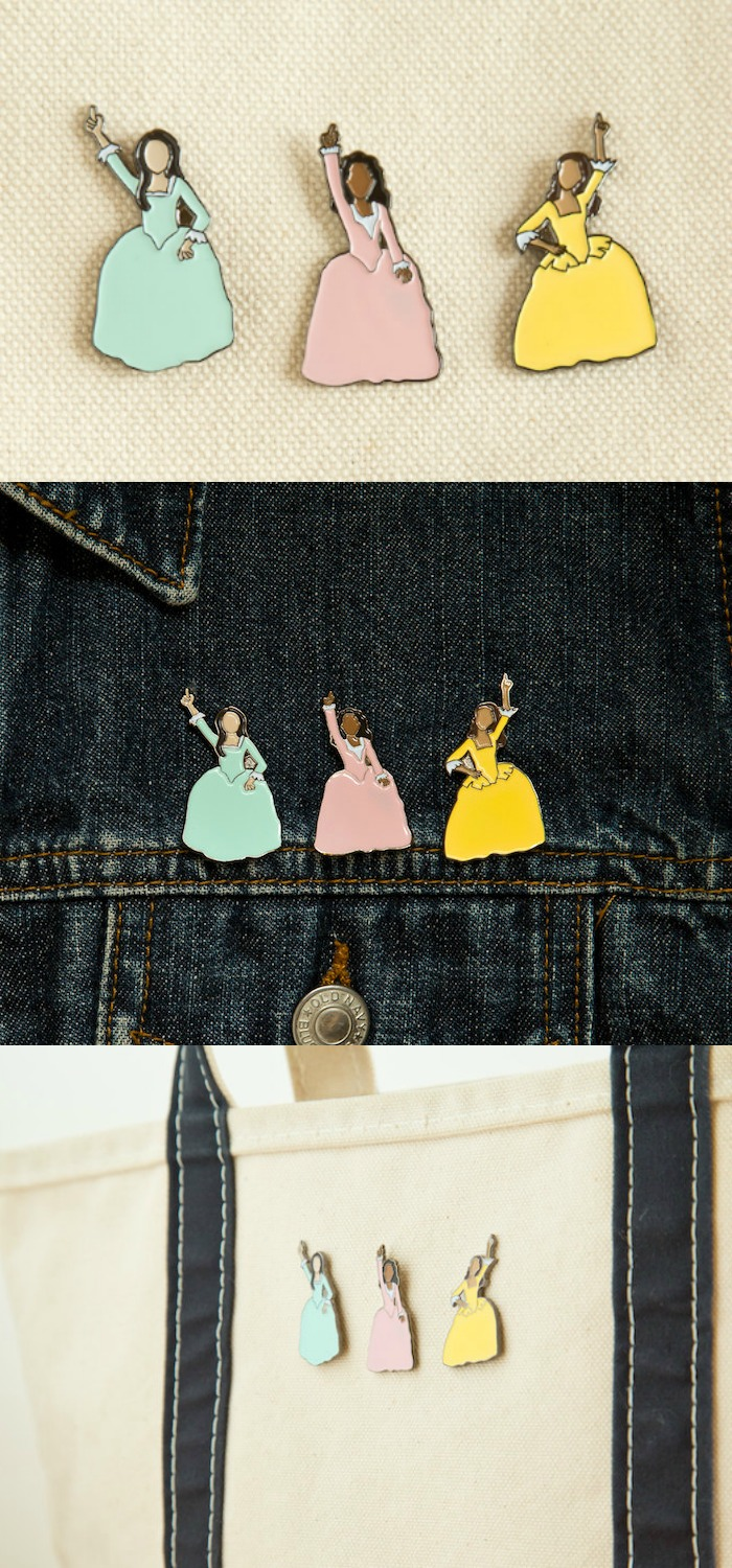 Bring the Schuyler sisters with you everywhere you go with these enamel pins. Work! Click through for more Hamilton jewelry.