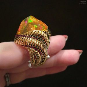 Crazy gorgeous fire opal ring by @moussonatelier