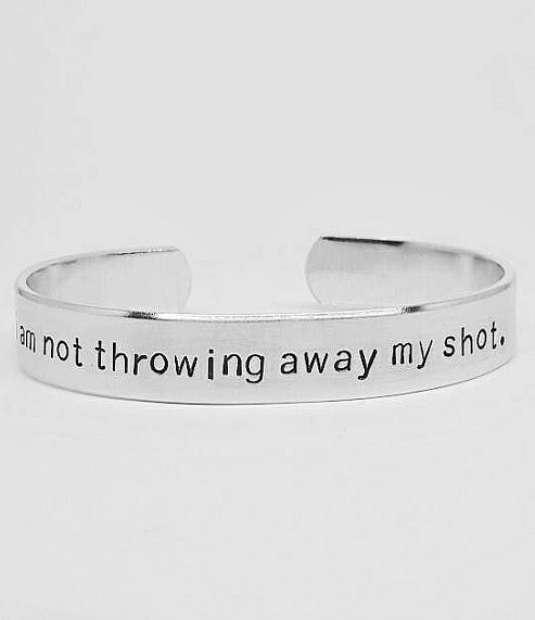 Hamilton jewelry - bracelet engraved with the lyric 'I'm not throwing away my shot'