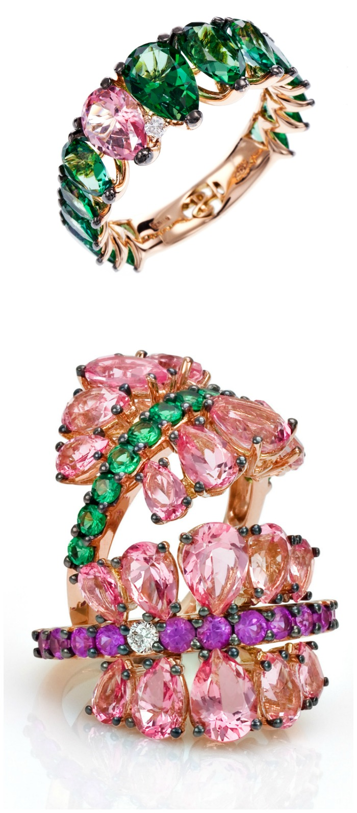 Spectacular gold and colorful gemstone rings from Stefan Hafner's Aria collection.