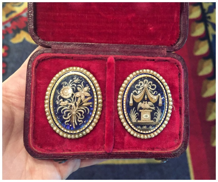 Two incredible antique Georgian seed pearl brooches. At Landsberg and Son Antiques.