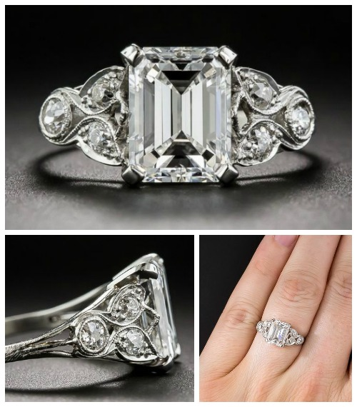 A beautiful antique Art Deco engagement ring from the 1920's. With a stunning 2.03 carat emerald cut center diamond.
