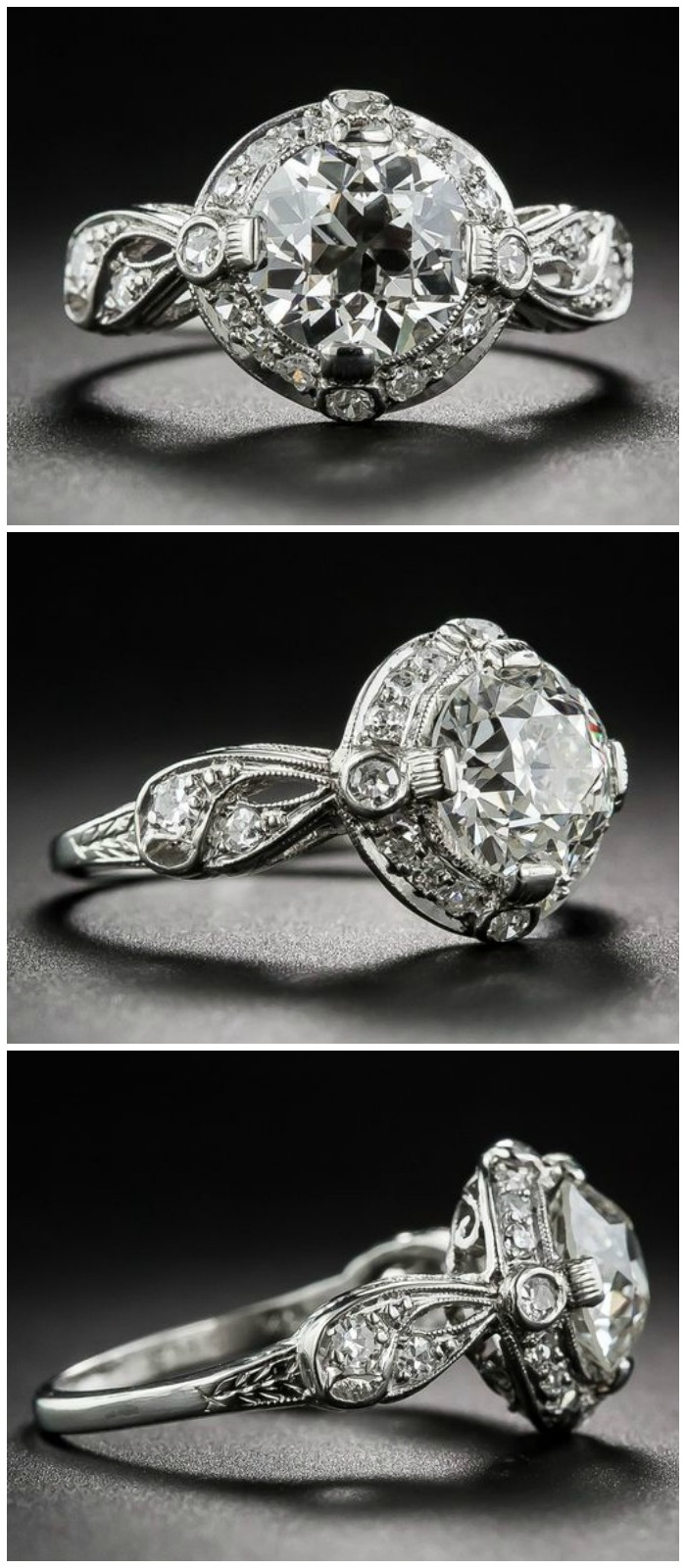 A beautiful antique Art Deco engagement ring with a 1.62 carat center diamond and lovely, loopy, ribbon-like shoulders. At Lang Antiques.