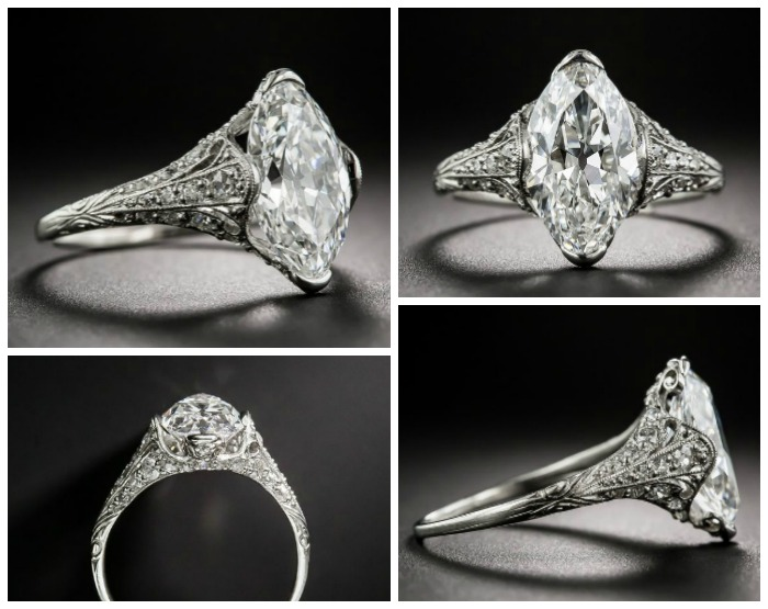 A beautiful antique engagement ring from Tiffany and Co, from the early 1900's. The center stone is just over 3 carats and it's perfect. At Lang Antiques.