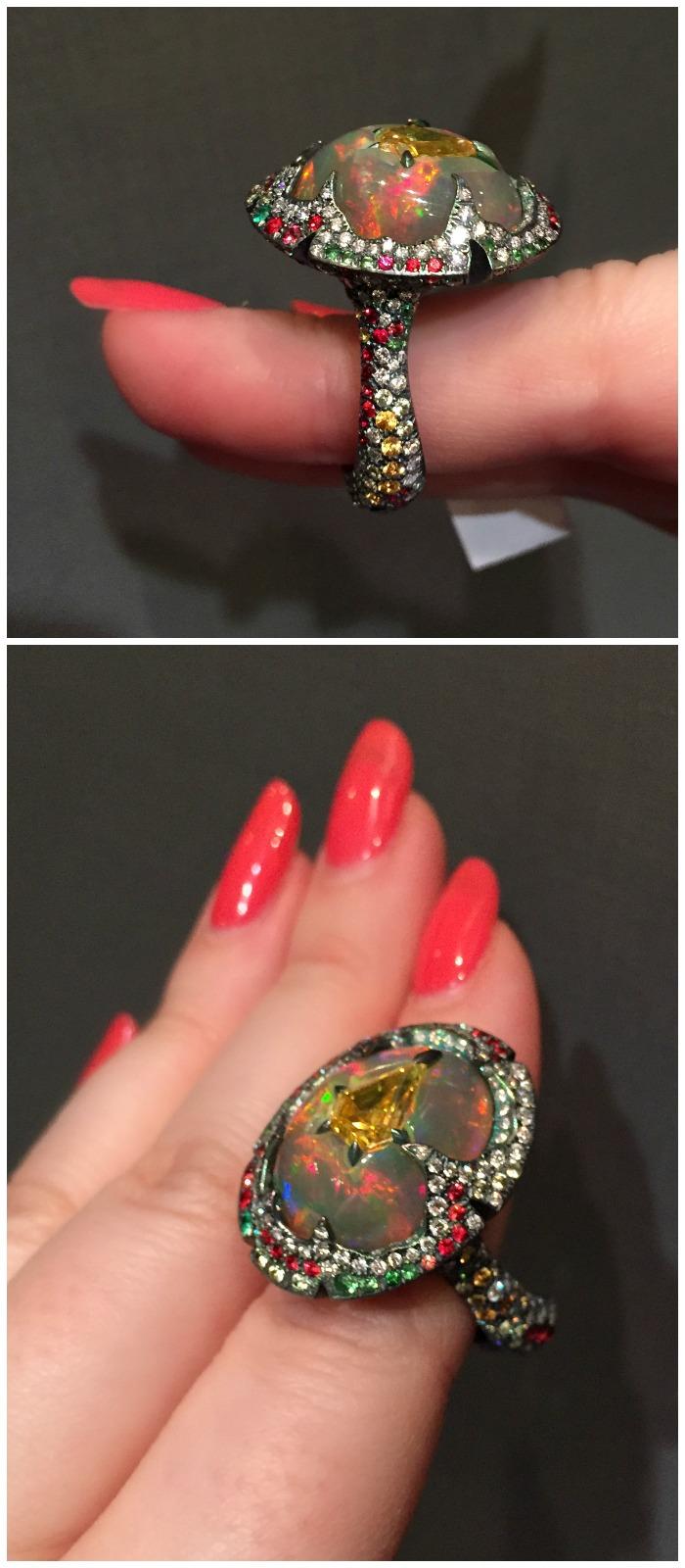 A glorious opal, diamond, and gemstone ring by Arunashi.