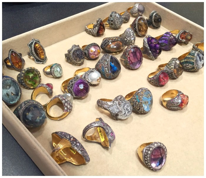 A tray full of exceptional rings by master jeweler Sevan Bıçakçı.