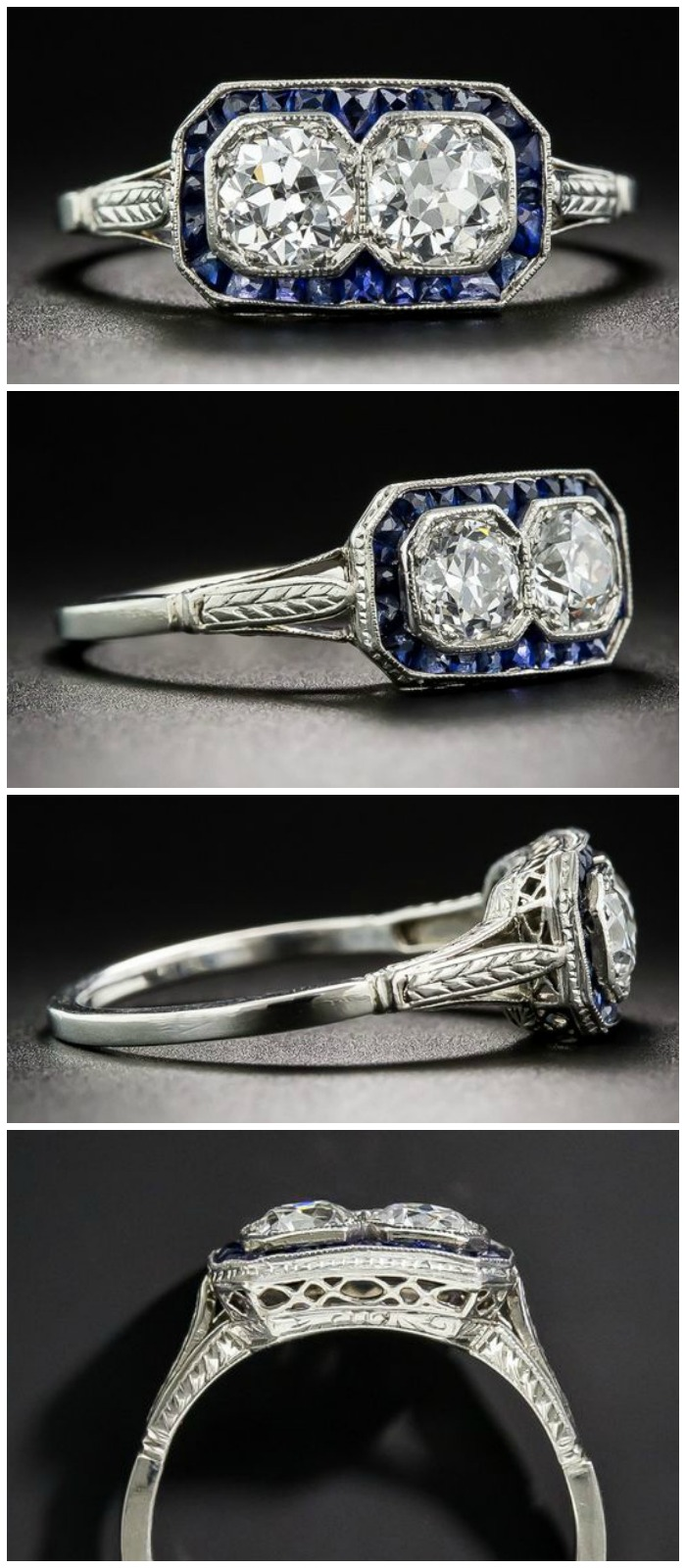 A wonderful antique Art Deco era twin-stone ring with sapphires and diamonds. Circa 1925.