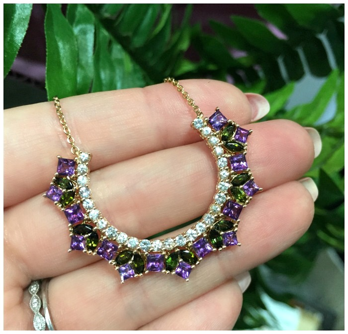 A wonderful gemstone and diamond necklace by Ayva jewelry.