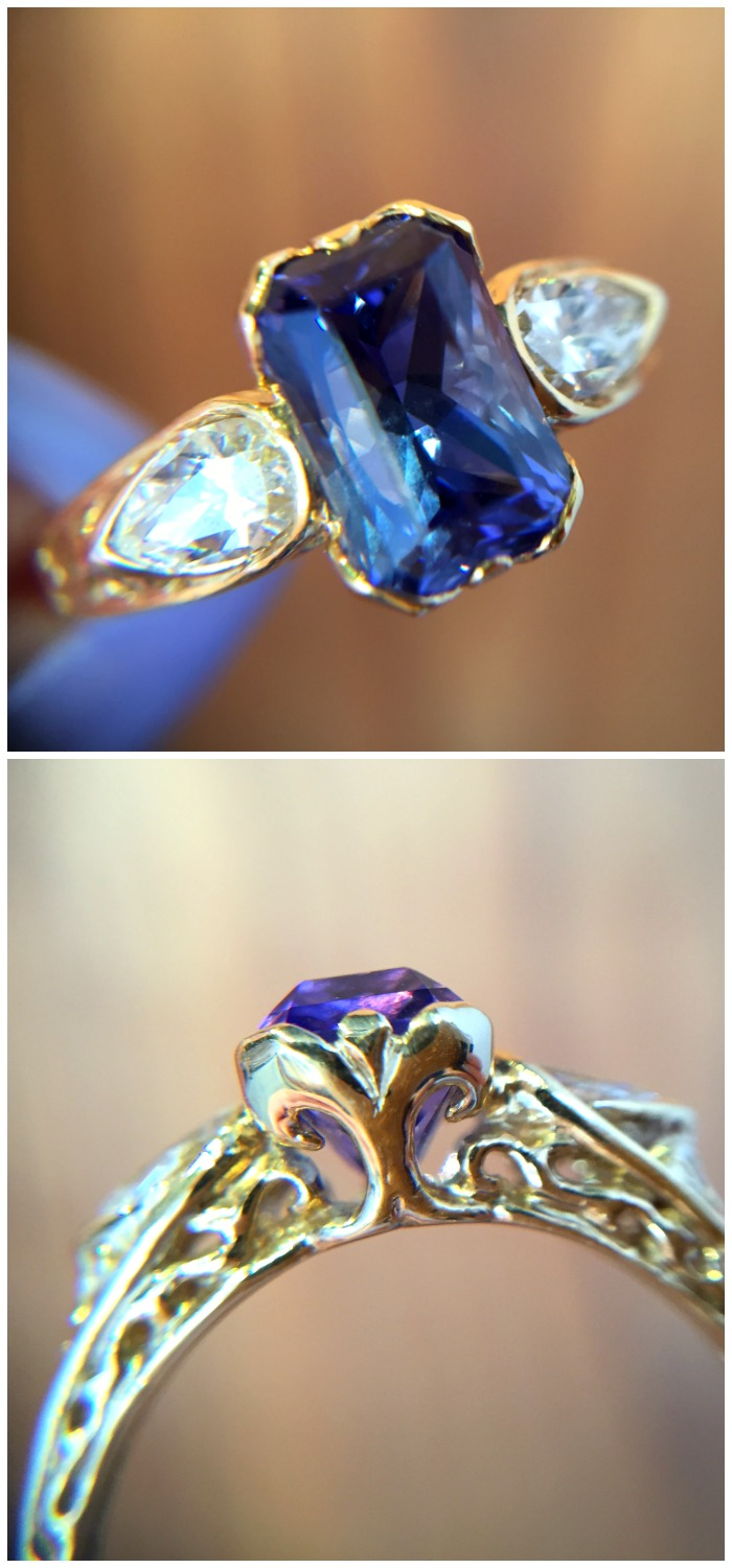 An incredible tanzanite ring in gold. Handmade by Hunt Country Jewelers.