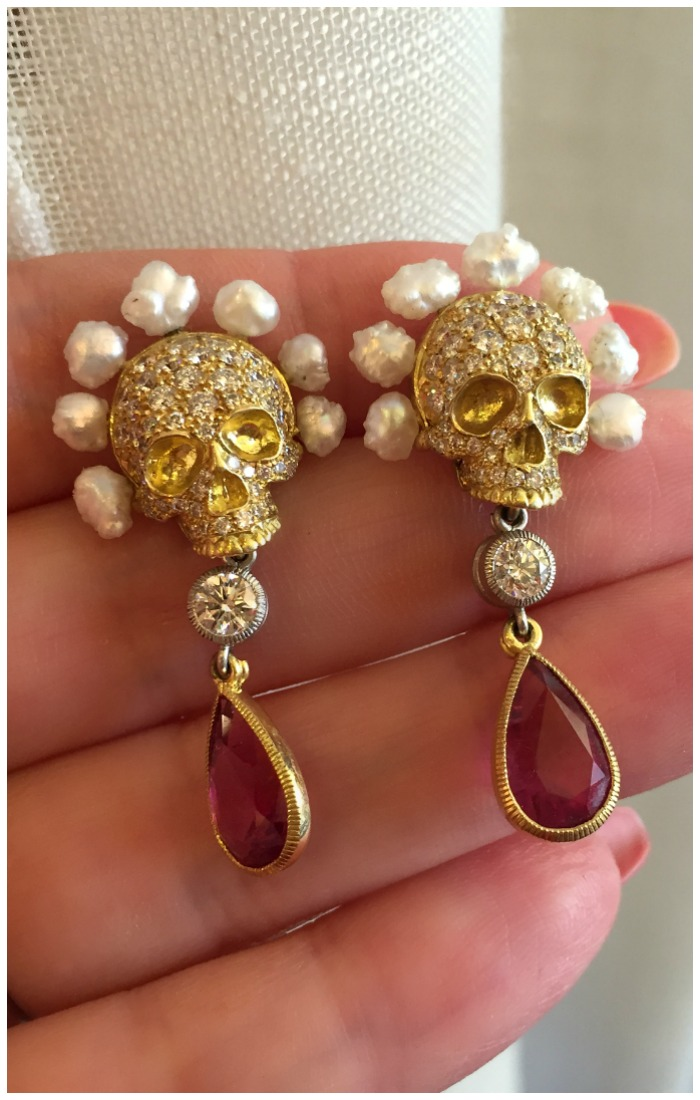 Crazy beautiful earrings by Anthony Lent! Diamond and gold skulls with pearl hair, suspending diamonds and gemstone drops.