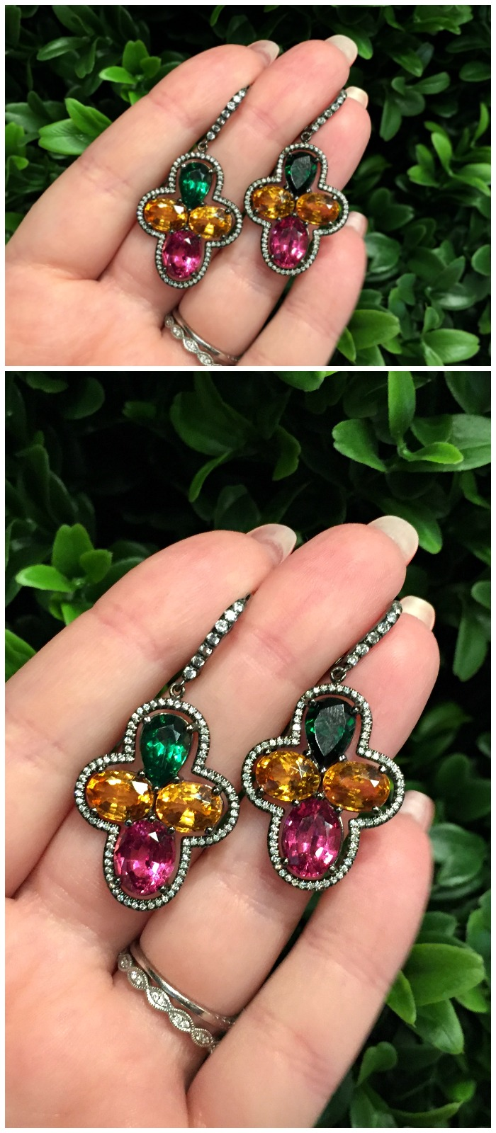 I love the colors in these wonderful gemstone earrings from Campbellian Collection.