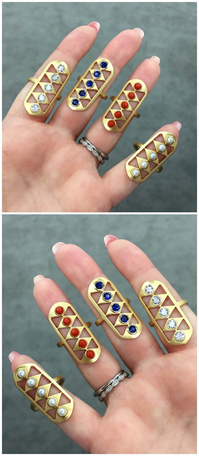 I love these gladiator rings from Doryn Wallach. Beautiful yellow gold with a variety of gemstones.