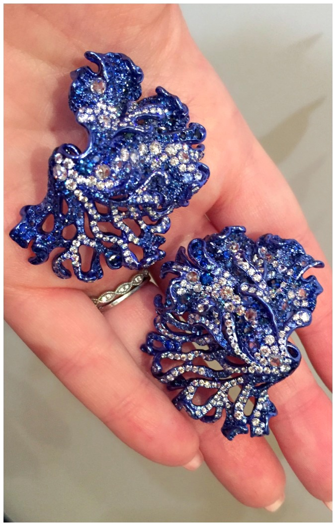 Neha Dani's incredible earrings look like some kind of glamorous, electric blue sea coral. Titanium with diamonds and sapphires.