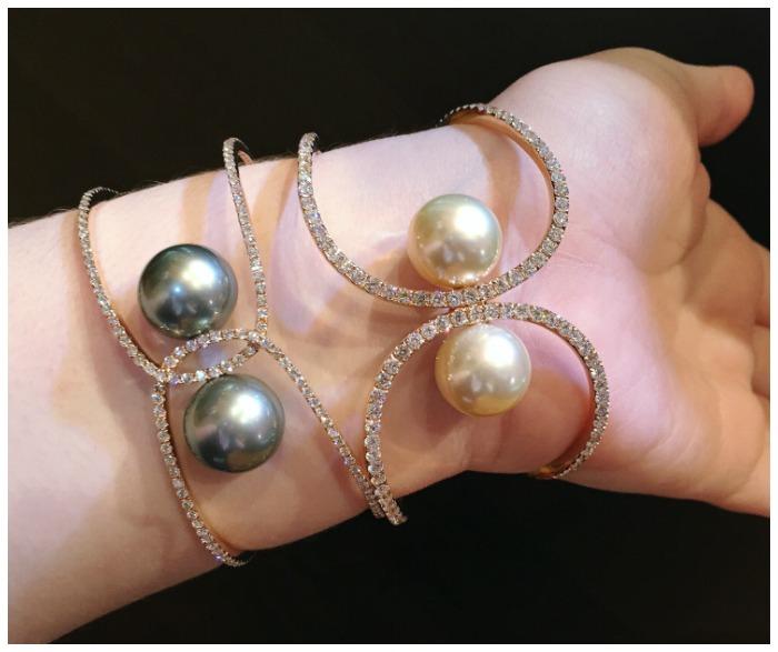 Stunning natural pearl and diamond cuff bracelets from Yoko Lodon.