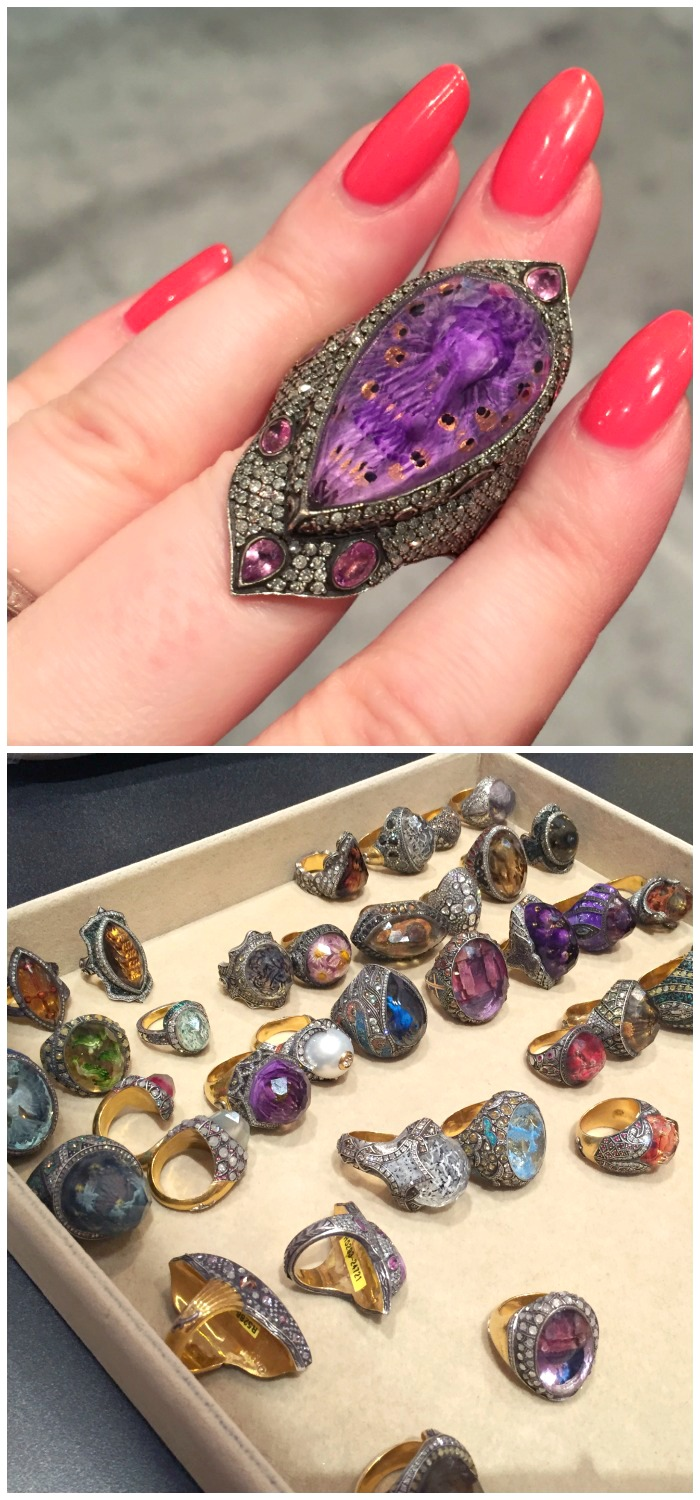 Stunning rings master jeweler Sevan Bıçakçı, each featuring a beautiful carved gemstone.