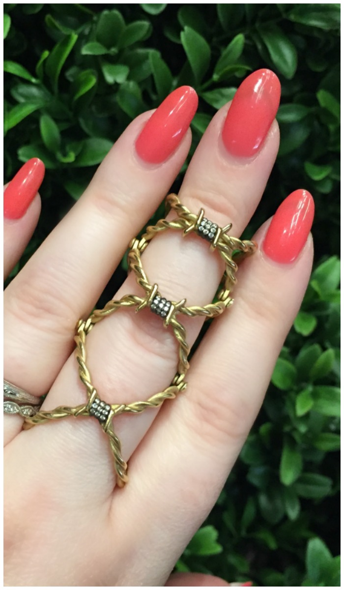 The coolest barbed wire ring in gold and diamonds. By Wendy Brandes.