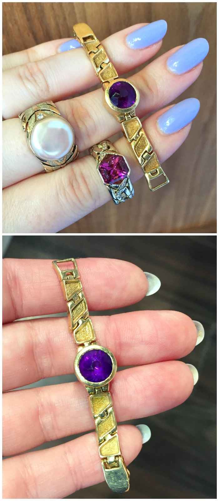 This cool custom project by Hunt Country Jewelers is an amethyst ring with an articulated gold band that fastens in the back like a watch.