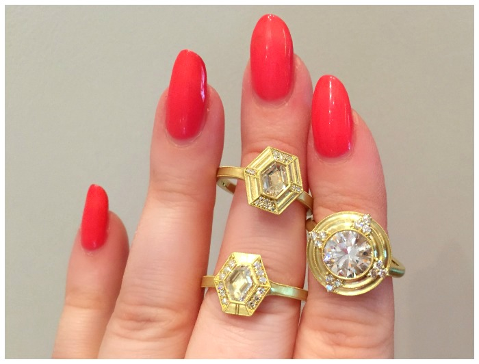 Three gold and diamond engagement rings by Erika Winters.