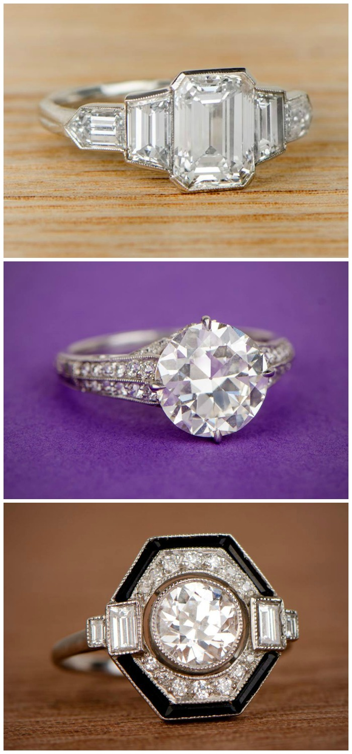 Three very different antique engagement rings from Estate Diamond Jewelry.