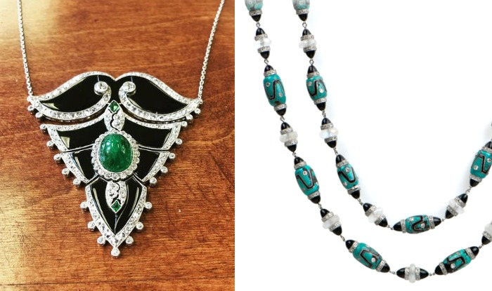 Two beautiful Art Deco era necklaces from M. Khordipour. Both have onyx and diamonds in platinum, one with an emerald and the other with turquoise beads.