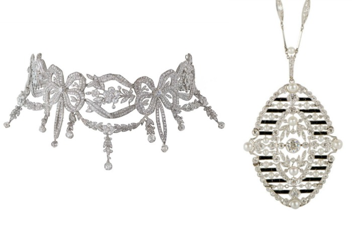 Two delicately beautiful Edwardian diamond necklaces from M. Khordipour