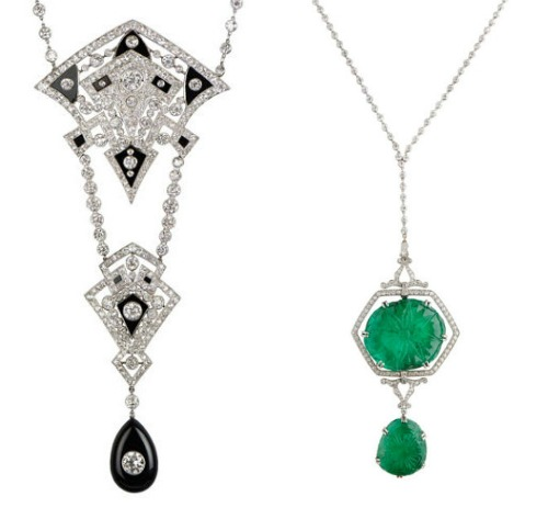 Two long Art Deco era necklaces, one with diamonds and onyx and one with diamonds and emeralds. From M. Khordipour.