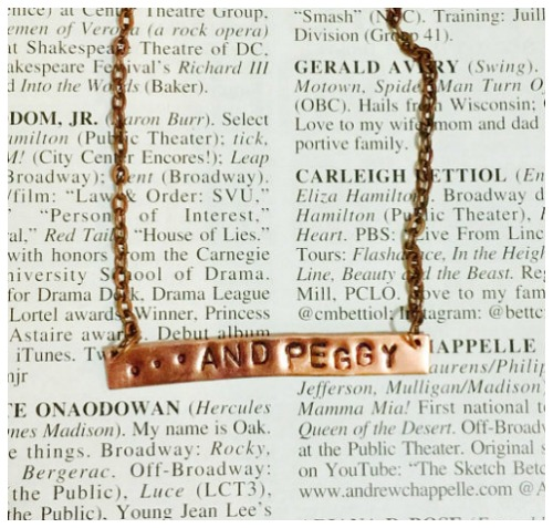 ...and Peggy. A necklace in honor of the least talked-about Schuyler sister.