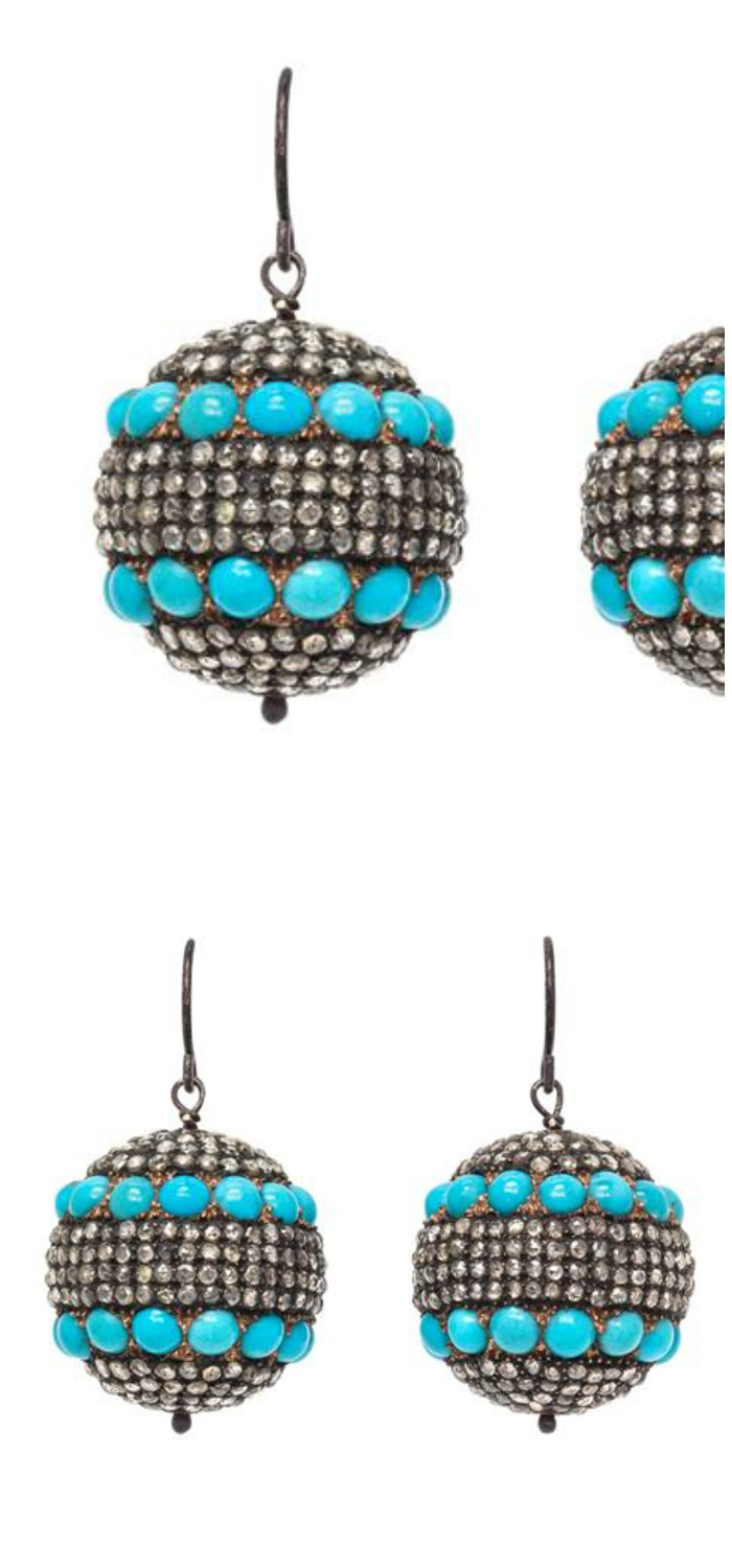 A Pair of Silver, Gold, Diamond and Turquoise Ear Pendants, composed of two hollow silver and gold spheres containing 54 round cabochon cut turquoise and rose cut diamonds in alternating rows.