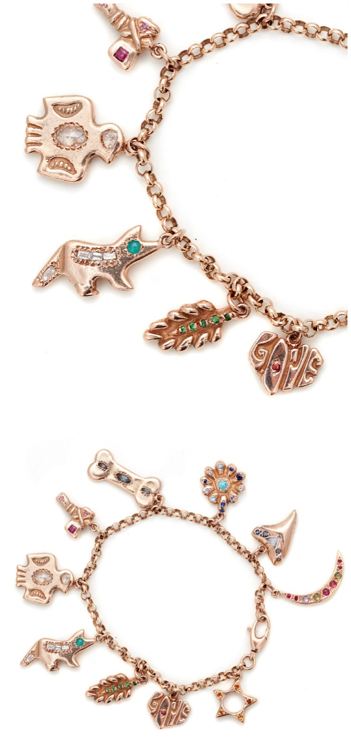 A beautiful charm bracelet by Elisa Solomon, in gold with colorful gemstones and diamonds.