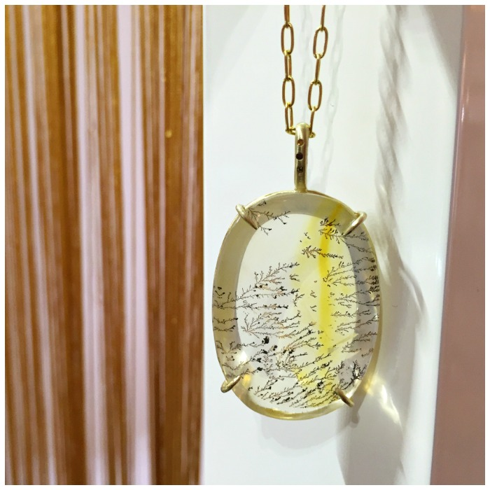 A beautiful dendritic agate necklace in recycled gold, with three colorful diamonds. By Judi Powers.