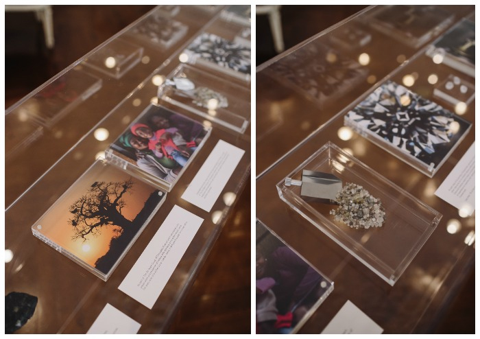 A display case at Forevermark's Bridal Academy dedicated to the company's commitment to responsible diamond sourcing practices.