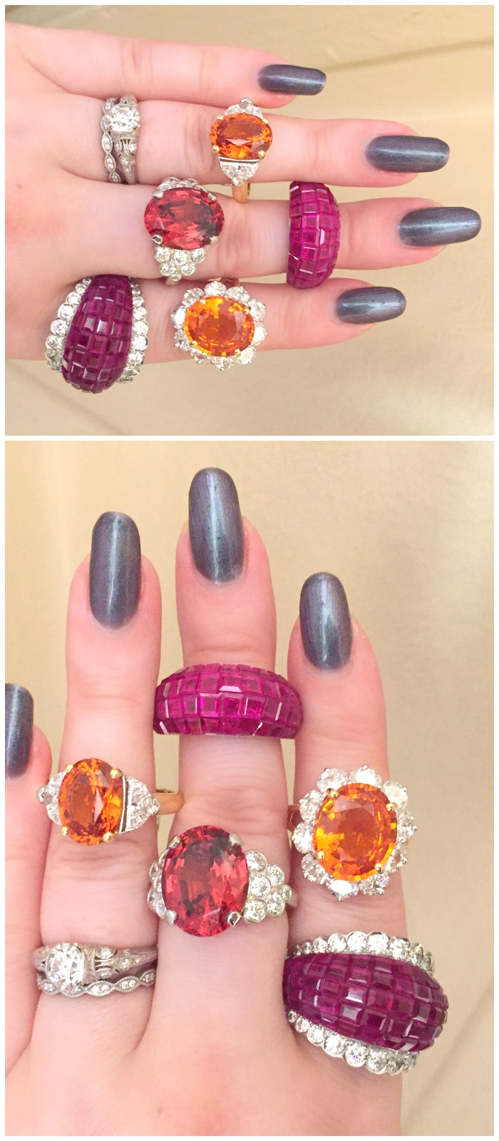 A handful of Oscar Heyman rings with the finest in orange and red gemstones! Rubies and garnets, so good they glow from within.