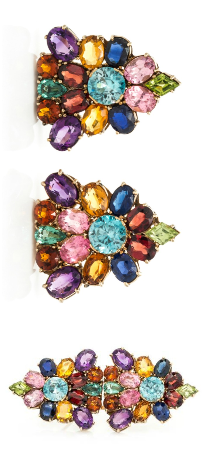 A pair of retro dress clips in rose gold with amethyst, citrine, blue zircon, garnet, peridot, and pink tourmaline. Can be worn as one piece or two.