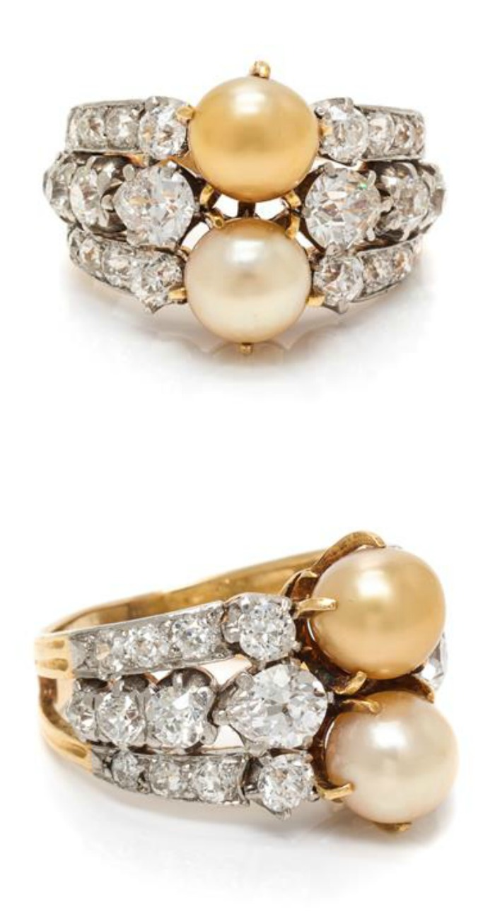 An Edwardian Platinum Topped Gold, Natural Pearl and Diamond Ring, Tiffany & Co.
