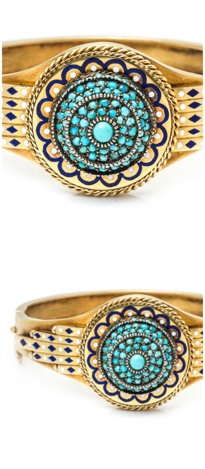 An antique Egyptian revival bangle bracelet with enamel details and turquoise. In Leslie Hindman's upcoming September jewelry sale.