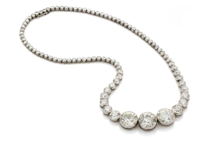 An important platinum and diamond necklace, totaling just over 40 carats(!!!). of diamonds.