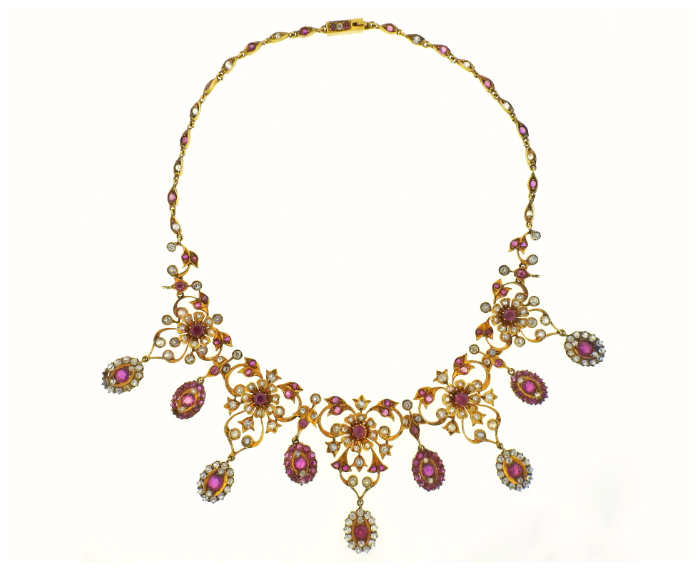 Antique gold necklace with natural Burmese rubies, sapphires, and diamonds in gold. At Oakgem.