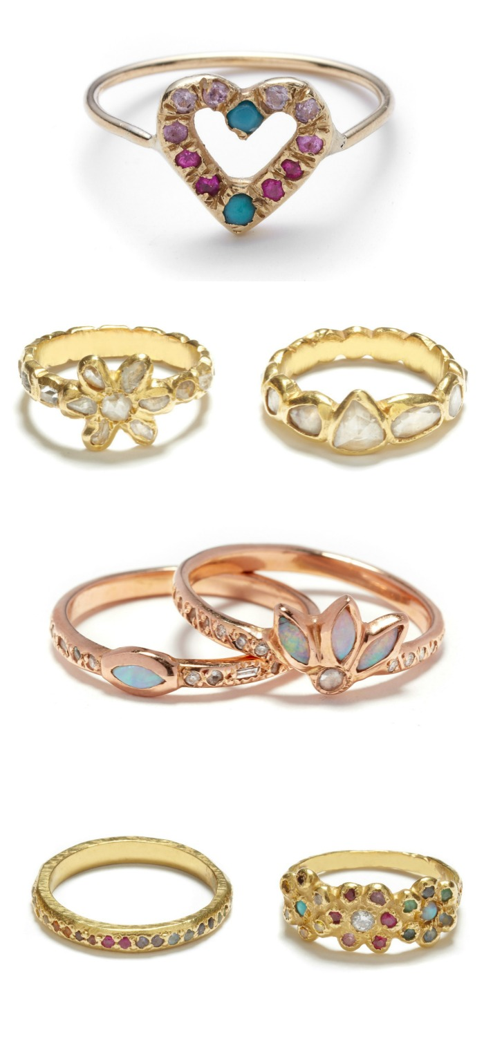 Beautiful gold rings by designer Elisa Solomon. With diamonds and gemstones.
