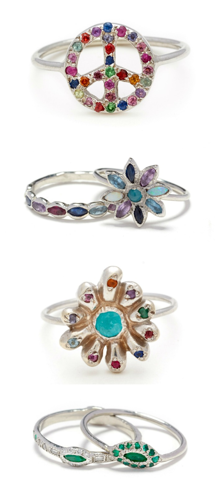 Beautiful rings by designer Elisa Solomon. With diamonds and gemstones.