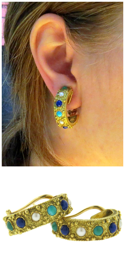 Fabulous 1970's earrings with lapis, pearls, and turquoise in yellow gold. At Oakgem.