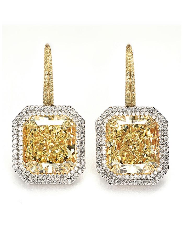 Forevermark Exceptional diamond fancy yellow diamond radiant cut earrings.