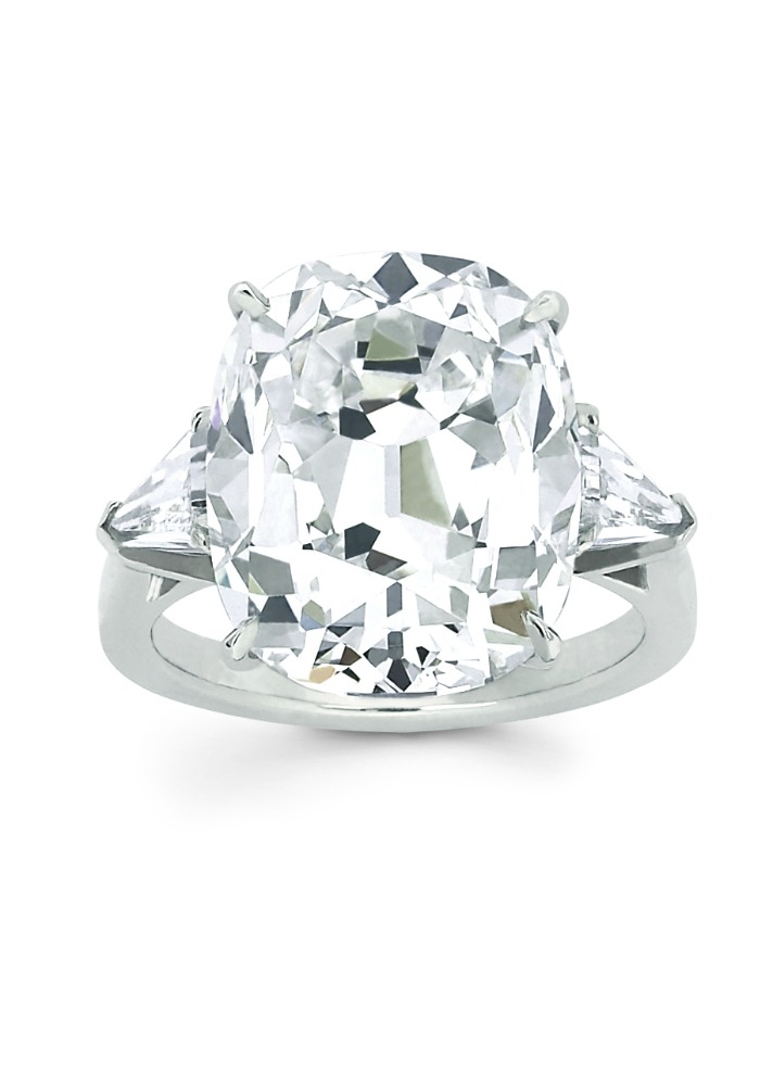 Forevermark Exceptional diamond ring with 6.06 ct cushion cut diamond.